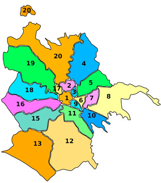 Carte des arrondissements de Rome